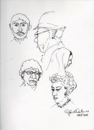 Rye lane portraits, ink on paper, November 2015.